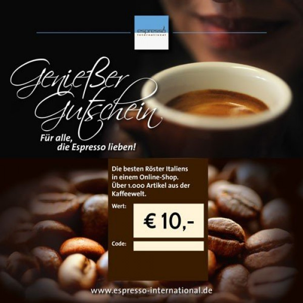 coffee voucher gift card espresso international
